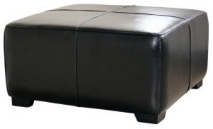 Baxton Studio Hortensio Square Leather Ottoman - Black modern-footstools-and-ottomans