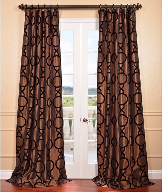 Copper Curtain Wall : Taurean copper flocked faux silk curtain panel