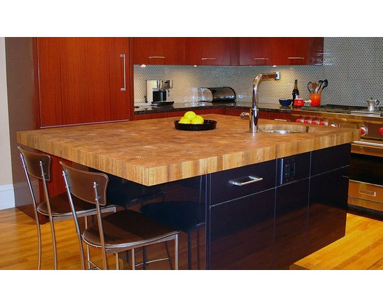 Teak Butcherblock Countertop with Undermount Sink. Designed by Venegas and Compa -
