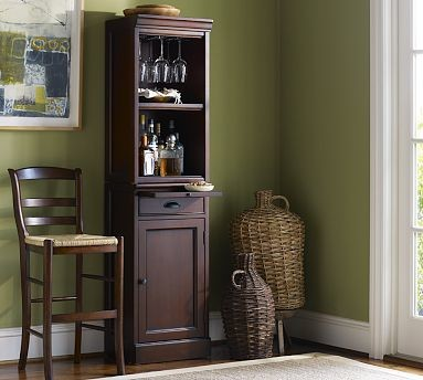 Modular Cabinet & Open Hutch Bar Tower, Black - Traditional - Wine And Bar Cabinets - by Pottery ...