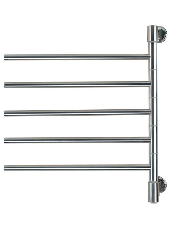 Hudson Reed - Swivel Electric Plug In Heated Towel Rail 22 x 25 Brushed & Polished - This attractive towel warmer by Amba will ensure a stack of warm, fluffy and dry towels is at hand throughout the year, and bring a touch of style to the bathroom or kitchen.  This towel warmer features five sleek bars, and has a high heat output of 50 Watts, which will quickly and thoroughly heat and dry towels and other garments.  With clean lines and minimalist styling, this is a contemporary-looking model which is perfectly suited to modern bathroom suites. It comes in a choice of chrome finishes- brushed or polished- which you can choose depending on the look you want to achieve in your suite. This useful towel radiator can also be fitted in the kitchen.  For the ultimate in usability and convenience, the bars on this towel warmer swivel, so towels can be easily reached at any time.  This model is powered by electricity, making it easy to install and operate. For buyer peace of mind, it is supplied with a two year warranty.  Swivel Electric Heated Towel Rail 22 x 25 Brushed & Polished Details:  Dimensions: (W x H x D) 22 x 25 x 3.9  Output: 50 Watts (171 BTUs)  Number of bars: 5   Suitable for bathroom, guest bathroom, kitchen etc.  2 year warranty