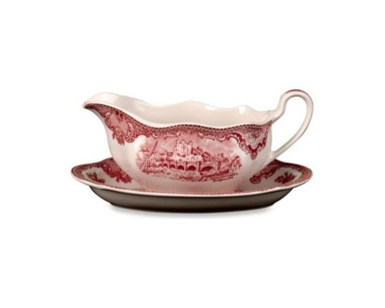 Johnson Brothers - Wedgwood Johnson Brothers Old Britian Castles Gravy Boat in Pink - A regal border in a floral scroll with a castle of Britain in the center creates a historic and lovely dinnerware. This earthenware sets a dark pink design against an ivory background. Includes gravy boat only, matching accessories sold separately.