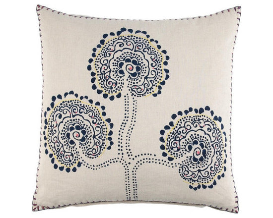 """John Robshaw - Opium Decorative Pillow design by John Robshaw. """"Pillows made from hilltribe textiles are one of my favorites because of the intriguing shapes and rhythms. Subtle hand embroidery adds touches of color to the deep indigo and natural linen.""""- John Robsaw"""