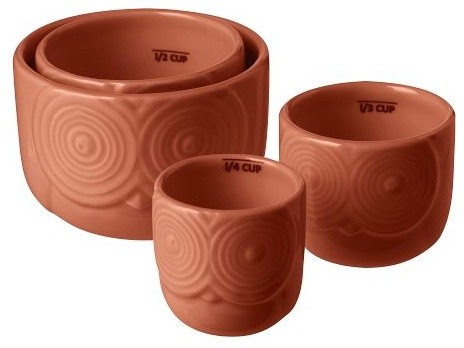 Owl Measuring Cups, Coral contemporary kitchen tools