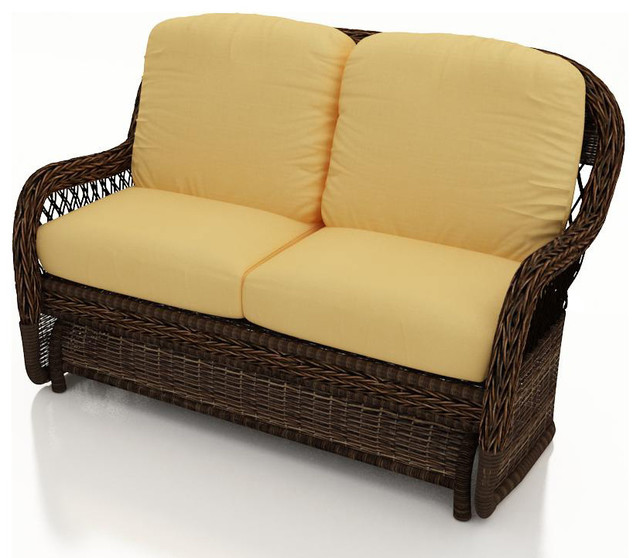 Leona Wicker Patio Double Glider Canvas Wheat Cushions Traditional Outdoor Gliders By