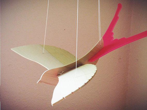 Bird Mobile, Pink by Robinson Designs contemporary-baby-mobiles