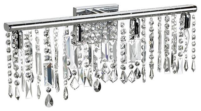 4 Light Chrome Crystal Wall Sconce Bathroom Vanity Fixture 24