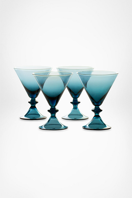 DVF High Rise Stemware Martin Glasses in Erawan Blue contemporary glassware