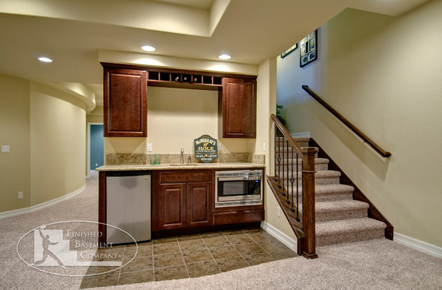 Basement Walk-Up Bar & Stairway - traditional - basement - denver ...