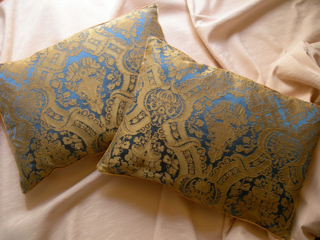 Throw Pillow Cover Fabric : Pair of Rubelli Lippi Blue and Yellow Silk Damask Fabric Throw Pillow Cover - Decorative Pillows ...