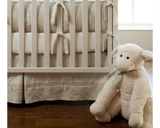 Blue and Taupe Paisley Crib Skirt -