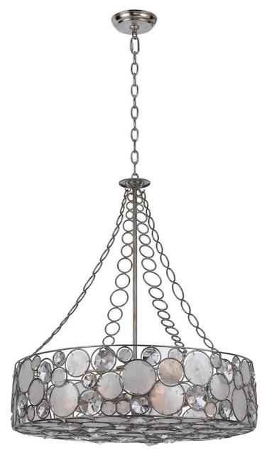 Crystorama 528-SA Palla Chandelier - 24.75W in. - Antique Sliver modern-chandeliers