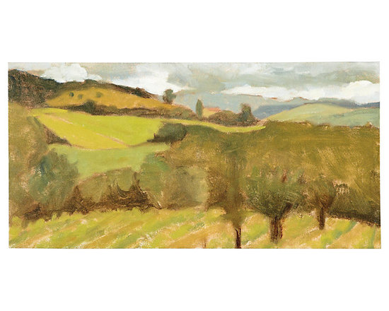 Ballard Designs - Tuscan View Stretched Canvas - Massachusetts artist, Terry Wise, captures the rolling hills of the Tuscan countryside in warm strokes of green, gold and gray. Digitally printed on gallery-wrapped canvas and hand finished with a palette knife for added texture.