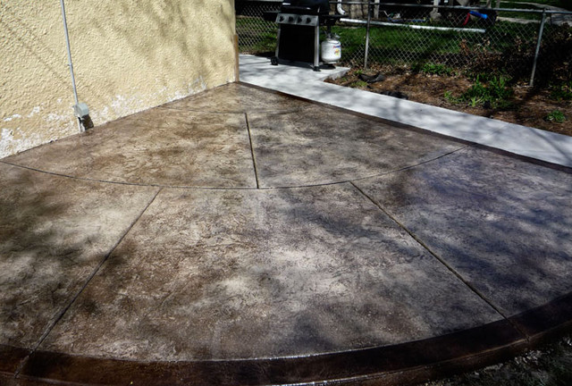decorative stamped concrete patios transitional