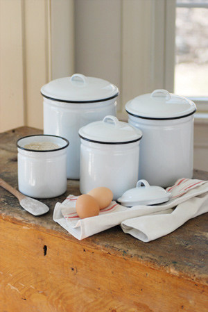 White Enamelware Canister Set eclectic food containers and storage