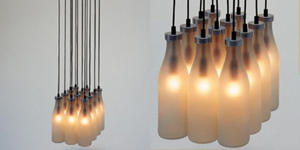 Milk Bottle Lamp by Tejo Remy for Droog contemporary chandeliers