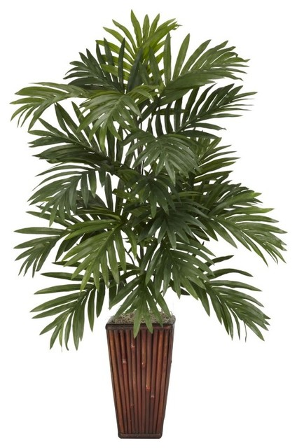 Areca Palm With Bamboo Vase Silk Plant - Tropical ...