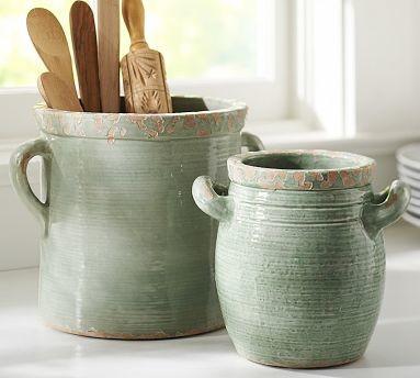 rustic cucina ceramic crock large blue traditional