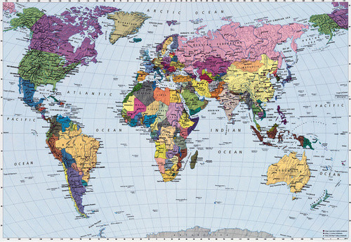 Brewster Wallcovering World Map Mural eclectic-wallpaper