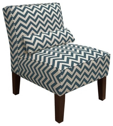 Chevron Chair, Navy transitional-armchairs-and-accent-chairs