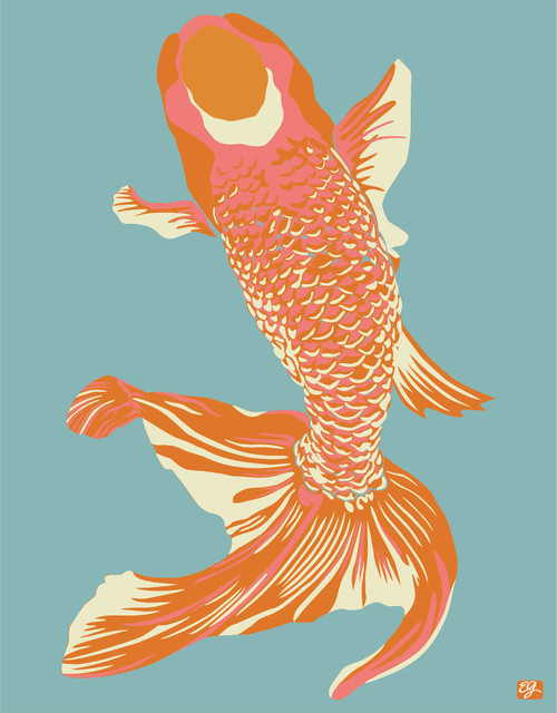 "Wholefish Print, Sea, 20"" x 30"" asian-prints-and-posters"