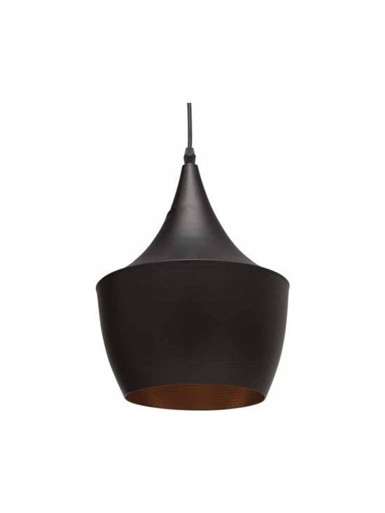 Lighting - The Karl Pendant Light is simple yet dramatic.  Matte black exterior with gold interior.