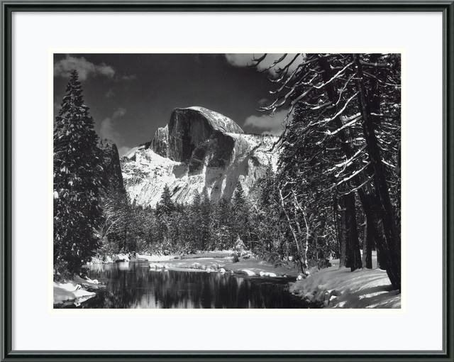 Half Dome, Winter - Yosemite National Park, 1938 Framed Print by Ansel Adams traditional-prints-and-posters