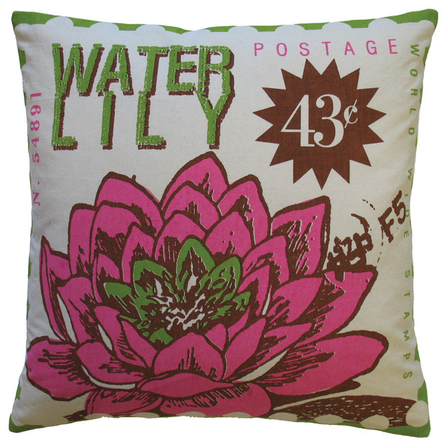 """Postage Pillow, Waterlily Print, 20"""" x 20"""" eclectic-pillows"""