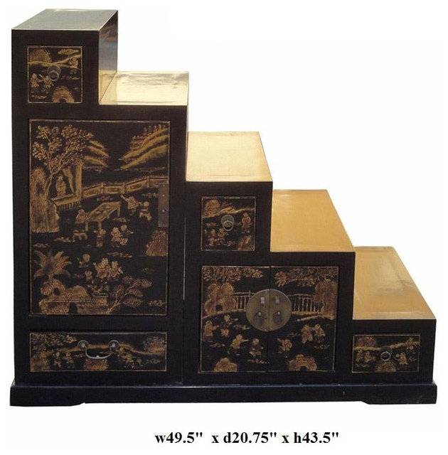 Oriental Golden Scenery Tansu Step Cabinet contemporary-side-tables-and-end-tables