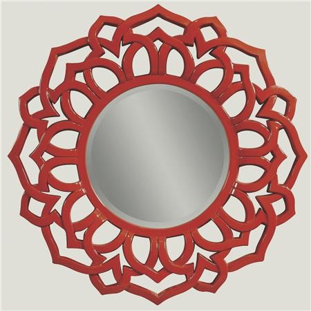 Lacquer Red Modern Petal Mirror contemporary mirrors