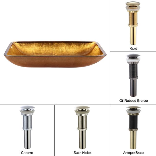 Rectangular Glass Vessel Sink : Kraus Golden Pearl Rectangular Glass Vessel Sink with PU Oil Rubbed ...
