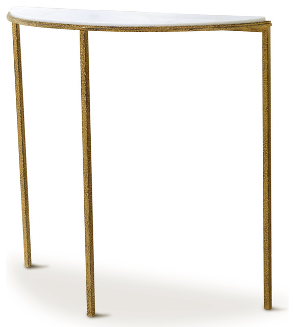 Daphne hollywood regency antique gold white marble demilune console table transitional - White demilune console table ...