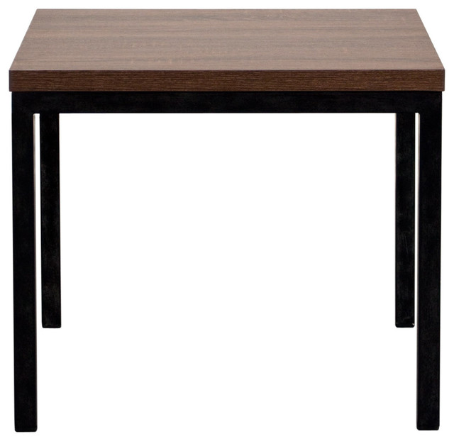 Tavolo Square End Table in Red Oak Finish with Metal Base in Antiqued ...
