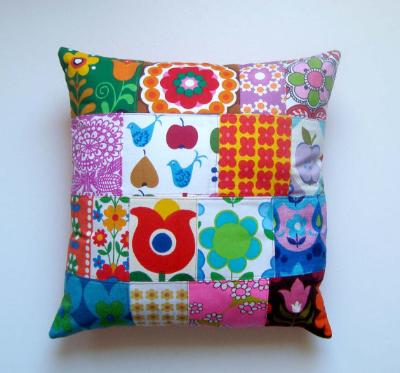 Retro Kitsch Patchwork Pillow / Cushion Cover by lisaghove eclectic pillows
