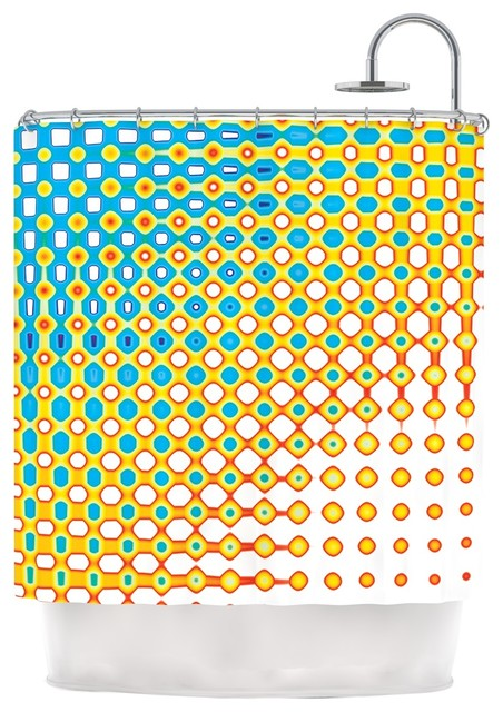 Dawid Roc Psychedelic Art Yellow Blue Shower Curtain Modern Shower Curtains By Kess