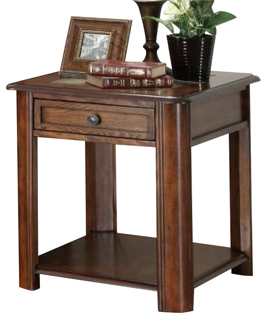 Homelegance McMillen Rectangular 1-Drawer End Table with Slate Inlay traditional-side-tables-and ...
