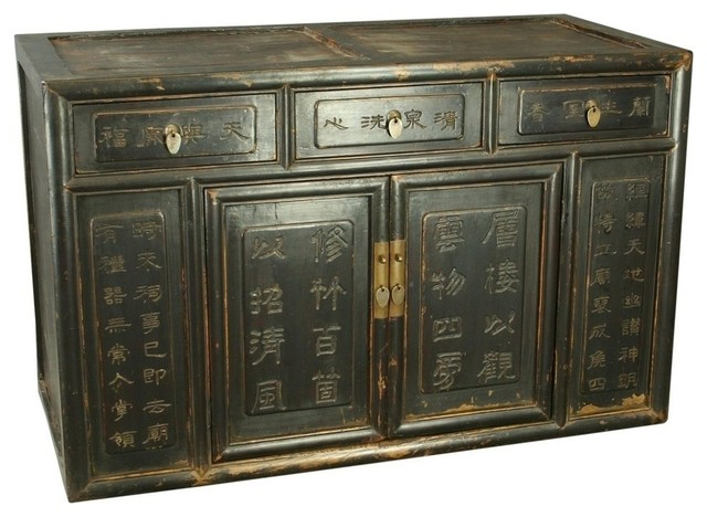 Consigned Antique Chinese Cabinet Buffet Carved asian-storage-cabinets