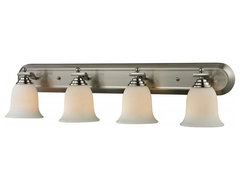 Four Light Brushed Nickel Matte Opal Glass Vanity transitional-bathroom-lighting-and-vanity-lighting
