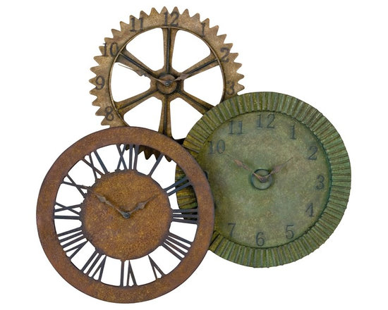 Rusty Gears 3-in-1 Metal Wall Clock - Three clocks in one! Crafted from hand-forged metal and finished in a combination of distressed red rust, brown rust and sage green rust with black undertones and black details. Featuring quartz movement. Combination rust finish. Quartz movement. Designed by Grace Feyock.