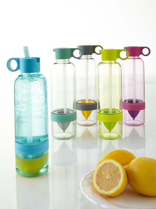 """Horchow - Citrus Zinger Sport - Citrus Zinger SportDetailsWater bottle made of Tritan plastic.BPA/Halogen/EA and Phthalate free.Convenient leak-free bottle with a flip-up straw for spill-free hydration on the go.Finger hole for easy carrying.3""""Dia. x 10""""T; holds 28 ounces.Imported."""
