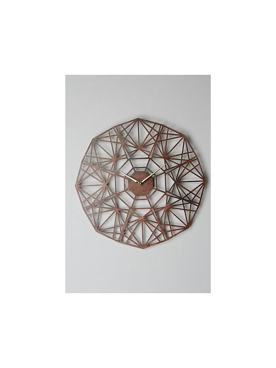 Anthropologie - Gatehouse Wall Clock, Geo - By Sarah Mimo. Limited-edition. Hanging hardware included. Lasercut Baltic birch plywood. 18''H, 18''W. 1.5'' projection. Handmade in USA
