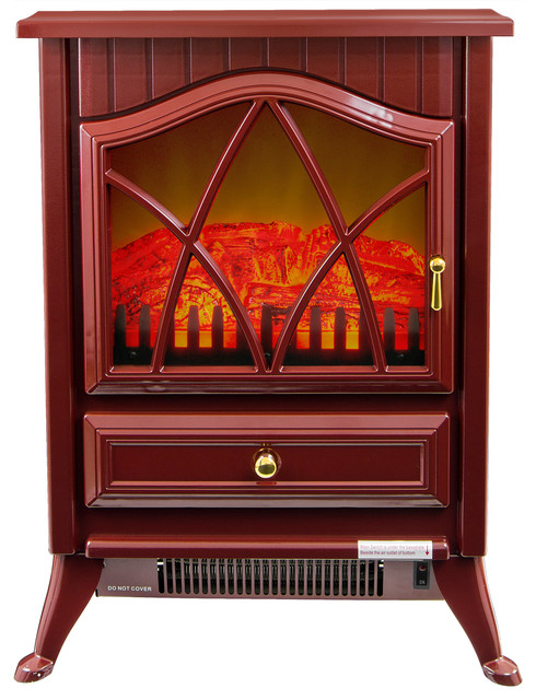 Freestanding Electric Fireplace Vintage Stove Heater Realistic Flame Red Traditional