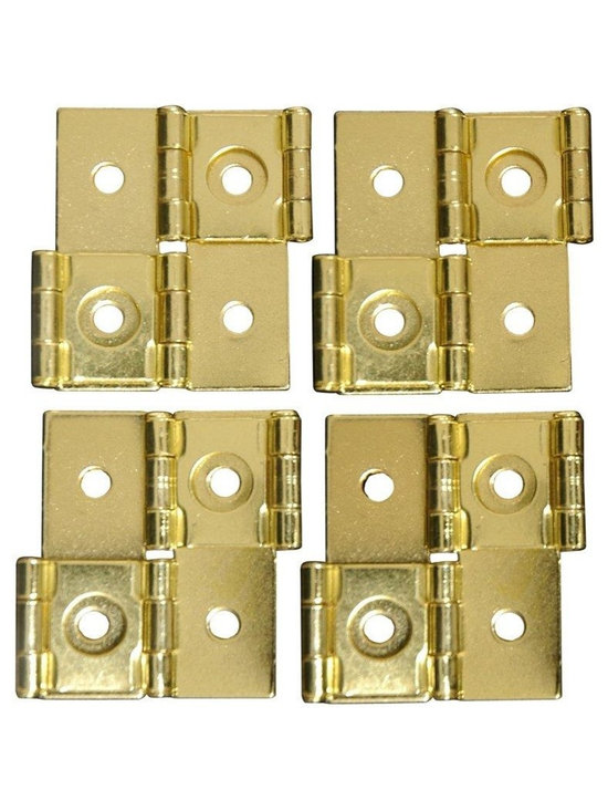 Oriental Furniture - Shoji Screen Hinges - Gold (Set of 4) - This set of four two-way hinges with matching colored screws can attach to any room divider panel to create a larger screen.