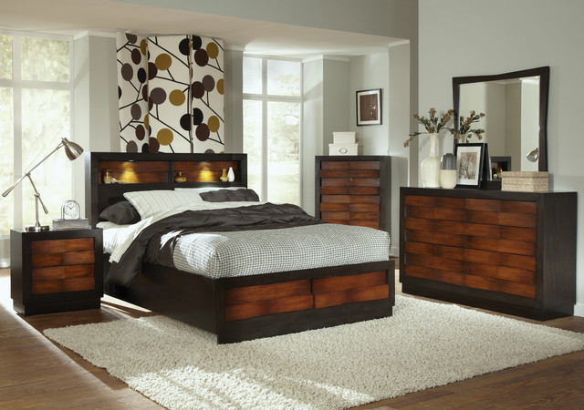 rolwing 5pc california king storage bedroom set in reddish
