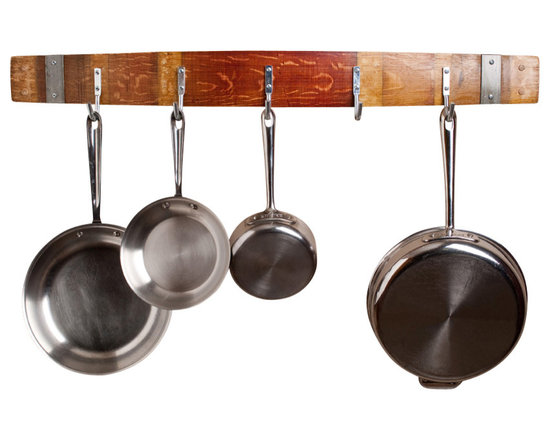 Alpine Wine Design - Wine Barrel Pot Rack with Bands - This artisan-crafted rack is designed to help you get things cooking with five stainless steel hooks to hold your pots and pans at the ready. Each piece is made from a Napa Valley wine barrel stave with variations in wood grain, stain and aged patina for one-of-a-kind character. Made to order.