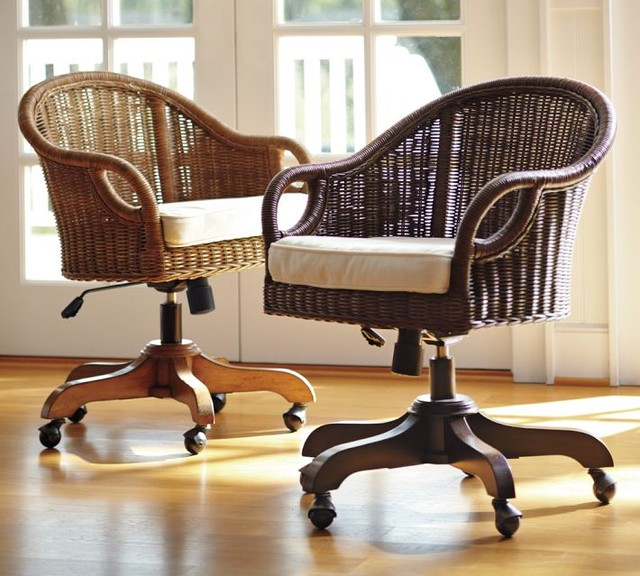 Rattan Swivel Desk Chair Home Products on Houzz