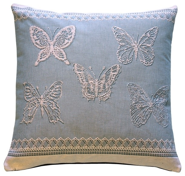 French Blue Throw Pillows : Lace Butterflies in Blue French Tapestry Throw Pillow - Traditional - Pillows - by Pillow Decor Ltd.