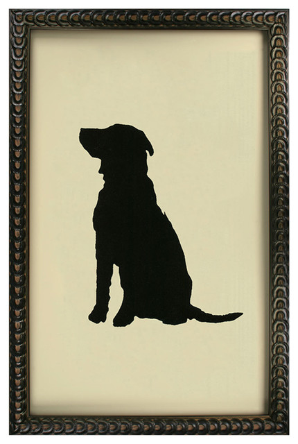 Silhouette Black Labrador Dog Art Print transitional-prints-and-posters