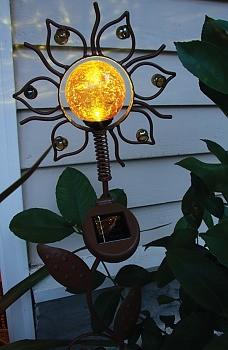 Whimsy Wobbler Sun Solar Garden Stake Eclectic Outdoor
