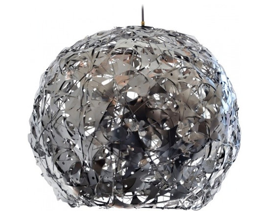 ecofirstart - 'Luna' Salvaged Metal Light Fixture - Salvaged metal layered and woven together to create this unusual light fixture. The interior holds a glass globe and single bulb that can change to any color of the rainbow! See last images for examples. Comes with approximately 4' downrod. Custom sizing available.